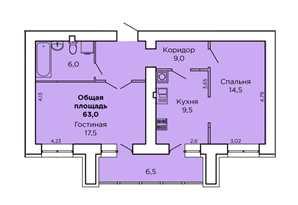 Двухкомнатная квартира с автономным отоплением в Доме на Лазурной